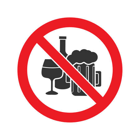 Forbidden sign with alcohol drinks glyph icon Vector isolated illustration Vettoriali