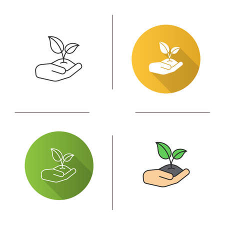 Open hand with sprout icon Isolated vector illustrations