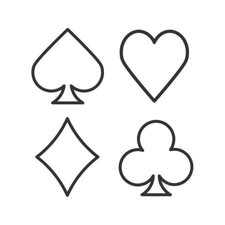Garnitury ikony liniowej karty do gry Wektor na białym tle szkicu