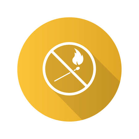 Forbidden sign with burning matchstick flat design long shadow glyph icon Vector silhouette illustration