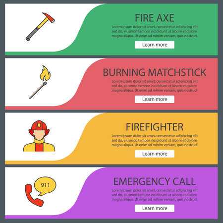 Firefighting web banner templates set. Fire ax, burning matchstick, firefighter, emergency call. Website color menu items. Vector headers design concepts. Ilustrace