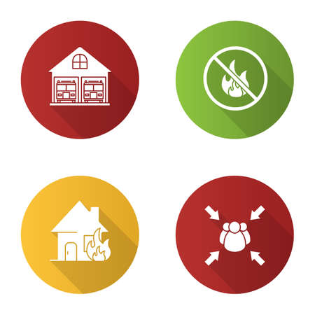 Firefighting flat design long shadow glyph icon. Burning house, fire station, fire assembly point, bonfire prohibition. Vector silhouette illustration Stock Vector - 98948725