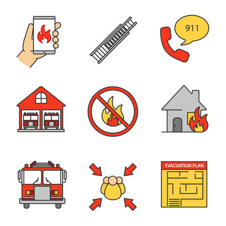 Firefighting color icons set. Emergency call, double extension ladder, fire station with engines, evacuation plan, assembly point, bonfire prohibition, burning house. Isolated vector illustrations Illustration