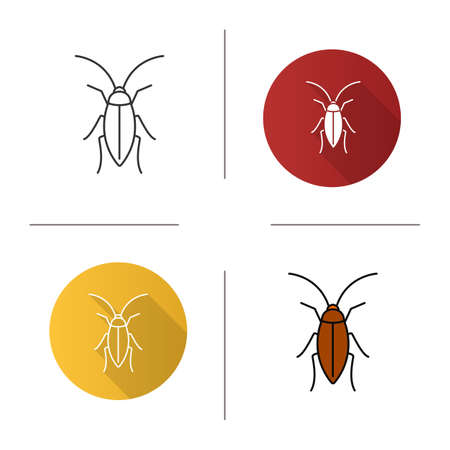Cockroach icon. Flat design, linear and color styles. Isolated vector illustrations