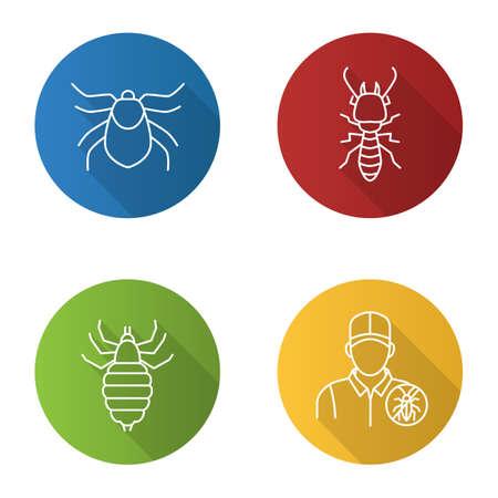 Pest control flat linear long shadow icons set. Mite, termite, louse, exterminator. Vector outline illustration.