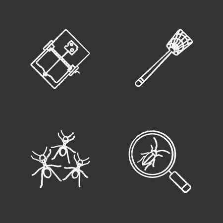Pest control chalk icons set. Cockroach searching, fly-swatter, mouse trap, ants. Isolated vector chalkboard illustrations.