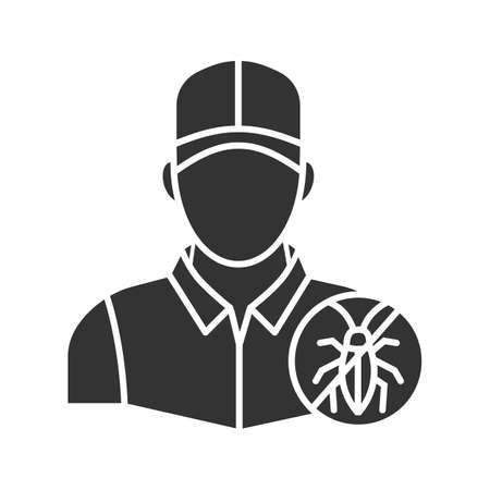 Exterminator glyph icon. Pest control service. Silhouette symbol. Negative space. Vector isolated illustration Illustration