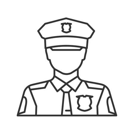 Policeman linear icon. Police officer. Thin line illustration. Contour symbol. Vector isolated outline drawing