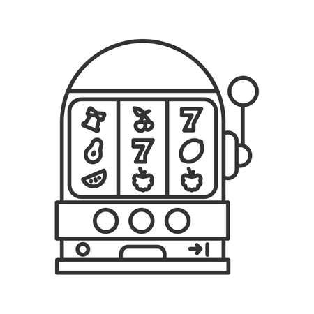 Slot machine icon. Thin line illustration. Casino contour symbol. Vector isolated outline drawing
