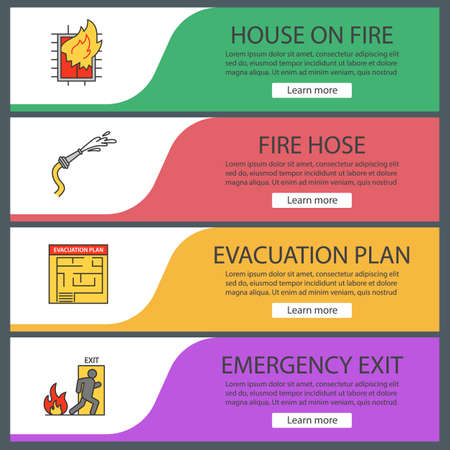 Firefighting web banner templates set. House on fire, evacuation plan, hose, emergency exit. Website color menu items vector headers design concepts.