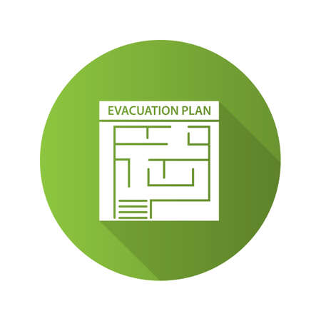Evacuation plan flat design long shadow glyph icon. Fire escape plan. Vector silhouette illustration
