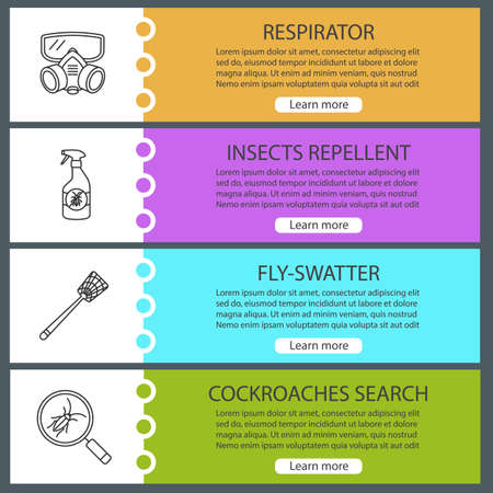 Pest Control Web Banner Templates Set. Respirator, Insects Repellent ...