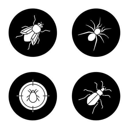 Pest control glyph icons set. Mite target, ground spider, housefly vector white silhouettes illustrations in black circles.
