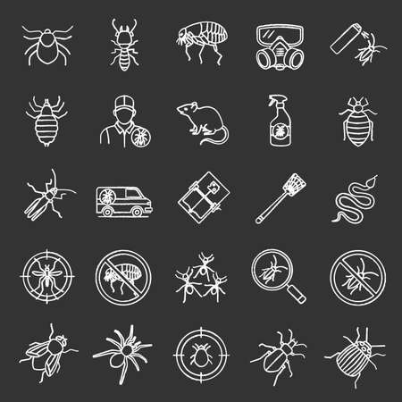 Pest control chalk icons set. Extermination. Harmful animals and insects. Isolated vector chalkboard illustrations