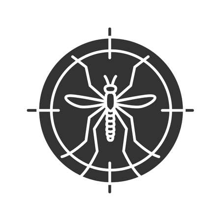 Mosquitoes target glyph icon, anti-insect repellent. Silhouette symbol negative space vector isolated illustration.