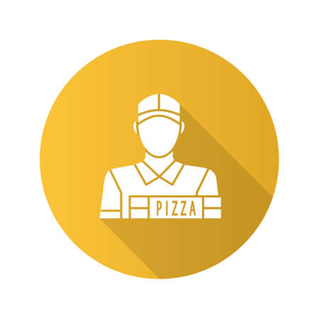 Pizza deliveryman flat design long shadow glyph icon. Delivery service vector silhouette illustration.
