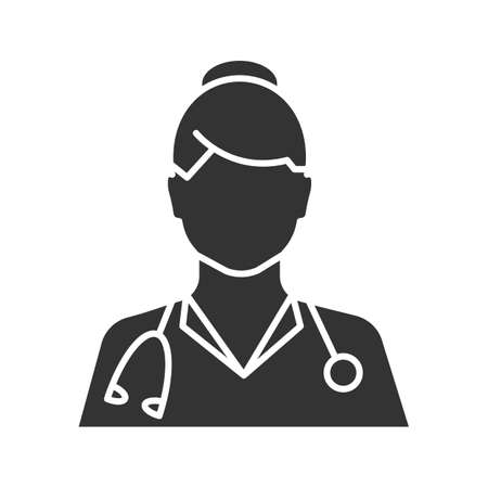 Doctor glyph icon. Medical worker. Practitioner. Silhouette symbol. Negative space. Vector isolated illustration Vettoriali