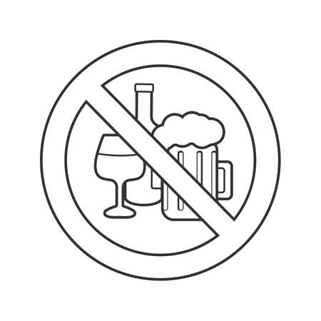 Forbidden sign with alcohol drinks linear icon. Thin line illustration. Wine bottle and beer glass in prohibition circle. Stop contour symbol. Vector isolated outline drawing