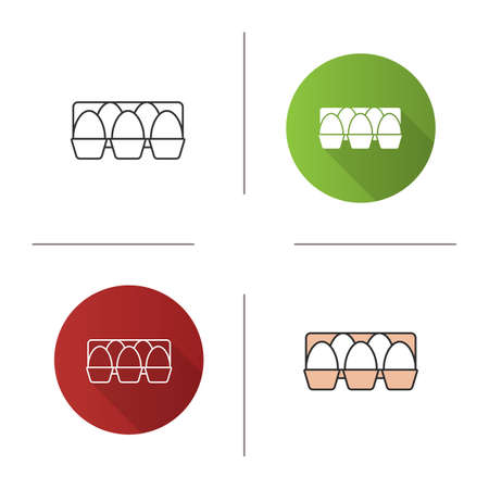 Eggs tray icon. Flat design, linear and color styles. Isolated vector illustrations Vectores