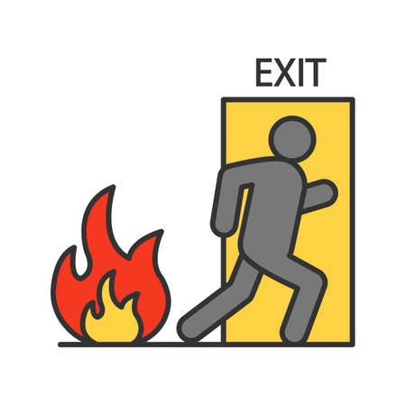Fire emergency exit door with human color icon. Evacuation plan. Isolated vector illustration