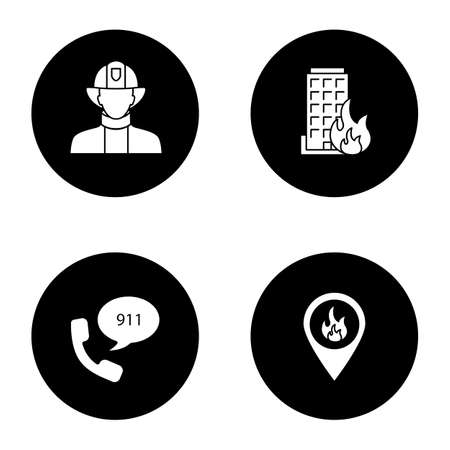 Firefighting glyph icons set. Firefighter, fire location, burning house, emergency call. Vector white silhouettes illustrations in black circles Vettoriali