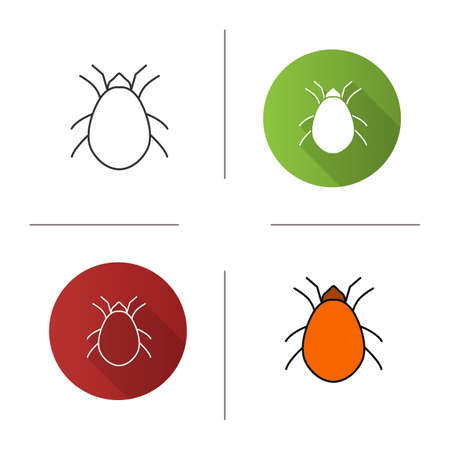 Mite icon. Flat design, linear and color styles.