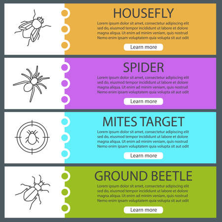 Pest control web banner templates set. Housefly, spider, mites target, ground bug. Website color menu items. Vector headers design concepts