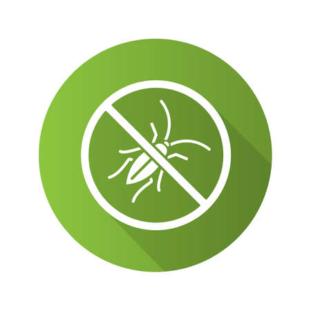 Stop cockroaches sign flat design long shadow glyph icon. Roach repellent. Pest control. Vector silhouette illustration 일러스트