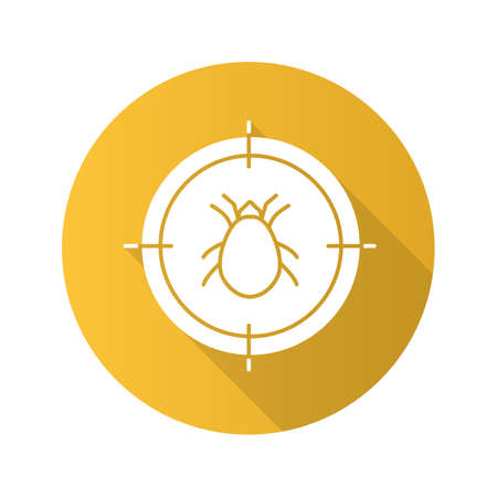 Mite target flat design long shadow glyph icon. Parasitic insects repellent. Vector silhouette illustration