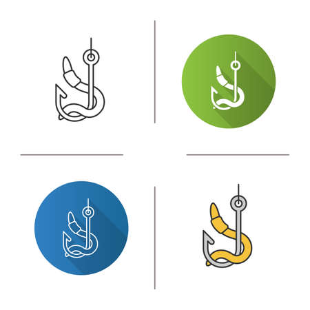 Worm on hook icon. Flat design, linear and color styles. Fishing live bait. Isolated vector illustrations