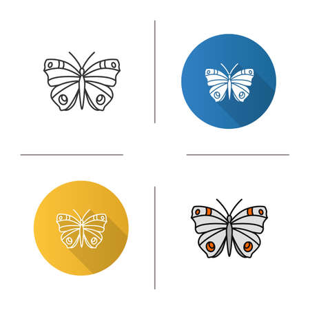 Butterfly icon. Insect. Flat design, linear and color styles. Moth. Isolated vector illustrations Çizim