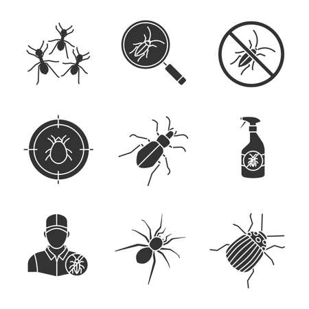 Pest control glyph icons set. ants, roaches repellent, mite target, colorado bug, spider, Silhouette symbols. Vector isolated illustration Illustration