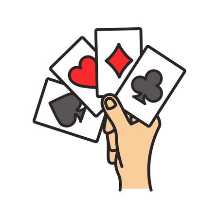 Hand holding four acescolor icon. Playing cards. Poker. Kare. Isolated vector illustration