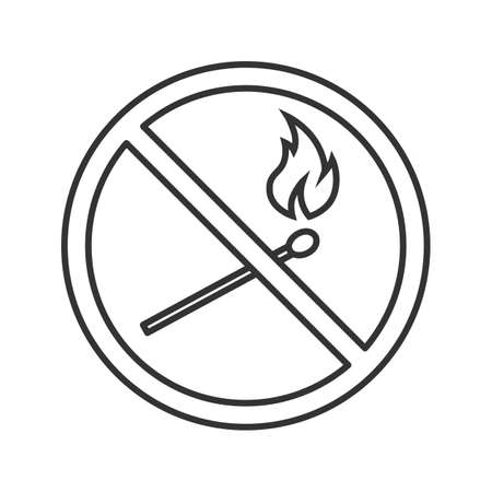 Forbidden sign with burning matchstick linear icon. Thin line illustration. No naked lights prohibition. Stop contour symbol. Vector isolated outline drawing