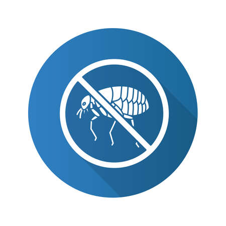 Stop fleas flat design long shadow glyph icon. Parasitic insects repellent. Pest control. Vector silhouette illustration Illustration