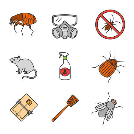 Pest control color icons set. Flea, respirator, cockroaches repellent, mouse trap, rodent, Colorado insect, housefly, fly-swatter. Isolated vector illustrations
