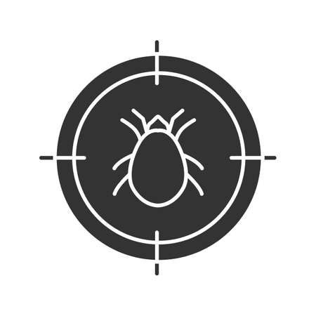 Mite target glyph icon. Parasitic insects repellent. Silhouette symbol. Negative space. Vector isolated illustration