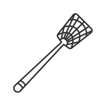 Fly-swatter linear icon. Houseflies, wasps, moths, gnats killing device. Thin line illustration. Contour symbol. Vector isolated outline drawing