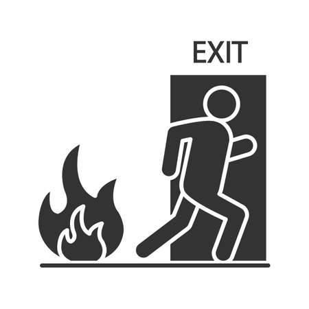 Fire emergency exit door with human glyph icon. Evacuation plan. Silhouette symbol. Negative space. Vector isolated illustration