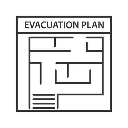 Ikona liniowej planu ewakuacji. Cienka linia ilustracji. Plan ewakuacji przeciwpożarowej. Symbol konturu. Szkic na białym tle wektor
