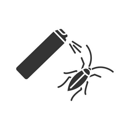 Roaches bait glyph icon. Cockroach repellent spray. Pest control. Silhouette symbol. Negative space. Vector isolated illustration
