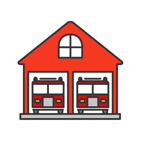 Fire station color icon. Firehouse. Garage with two fire trucks. Isolated vector illustration