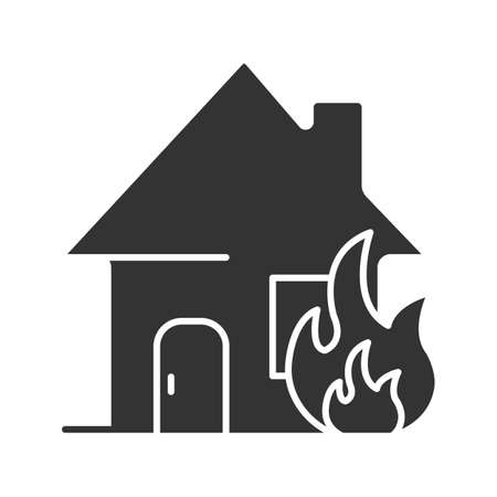 Burning house glyph icon. House on fire. Silhouette symbol. Negative space. Vector isolated illustration