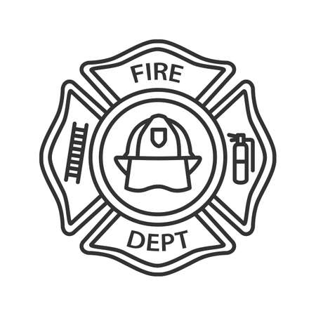 Fire department badge linear icon. Firefighting emblem with helmet, ladder and extinguisher. Thin line illustration. Contour symbol. Vector isolated outline drawing