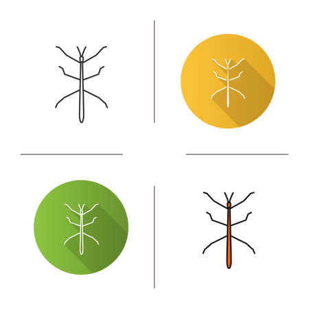 Stick bug icon. Flat design, linear and color styles. Ghost insect. Isolated vector illustrations