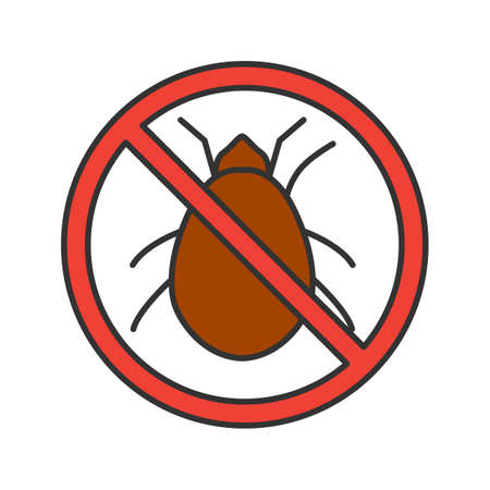 Stop mites sign color icon. Parasitic insects repellent. Pest control. Isolated vector illustration