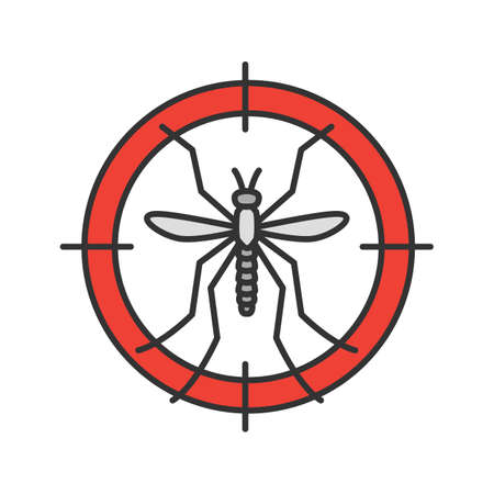 Mosquitoes target color icon. Anti-insect repellent. Isolated vector illustration
