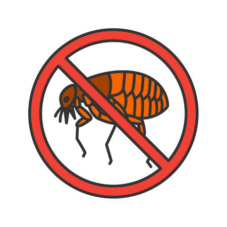 Stop fleas color icon. Parasitic insects repellent. Pest control. Isolated vector illustration