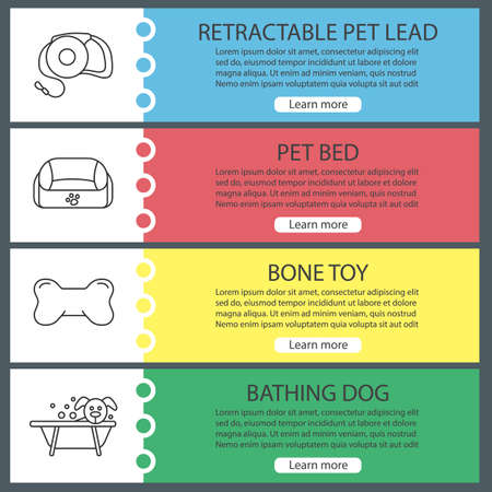 Pets supplies web banner templates set. Website color menu items with linear icons. Pet lead, animal bed, bone chew toy, bathing dog. Vector headers design concepts 矢量图像