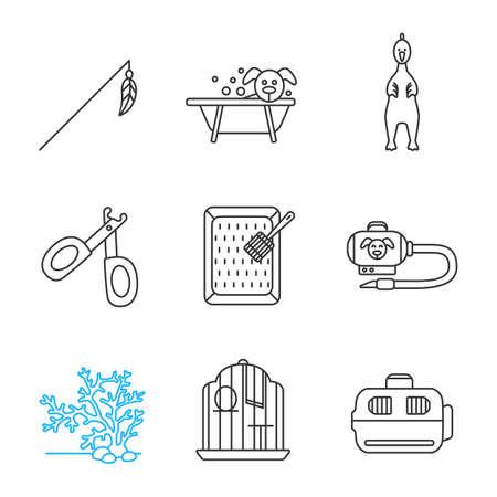 Pets supplies linear icons set. Ilustração